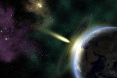Jord och asteroid Arkivfoto