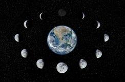 Jord- och månefaser Arkivbild