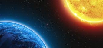 Jord och Sun stock illustrationer