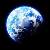 Jord som planeten på svart bakgrund Arkivfoto