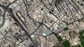 Jord zoomar i zoom ut Doha Qatar lager videofilmer