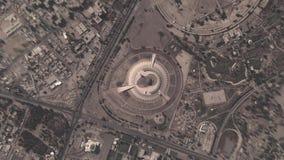 Jord zoomar in zoomen ut Baghdad Irak lager videofilmer