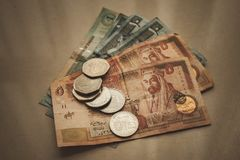Jordańscy dinary i piastry, retro stylizowany zdjęcia royalty free