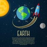 Jorda en kontakt banret med solen, månen, stjärnor och utrymme Arkivfoton