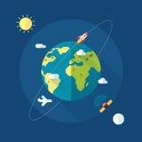 Jorda en kontakt banret med solen, månen, stjärnor och utrymme stock illustrationer