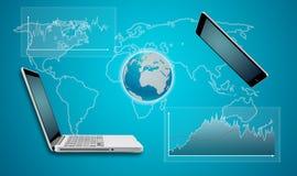 Jorda en kontakt begreppet för kommunikationen för jordklotminnestavla- och datorbärbara datorn Arkivbild