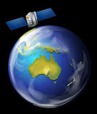 jorda en kontakt den orbiting satelliten royaltyfri illustrationer