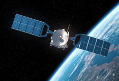 jorda en kontakt den orbiting satelliten Royaltyfria Foton