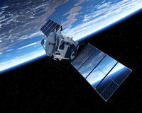 jorda en kontakt den orbiting satelliten Arkivbilder