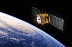 jorda en kontakt den orbiting satelliten Fotografering för Bildbyråer