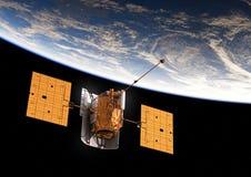 jorda en kontakt den orbiting satelliten Royaltyfri Foto