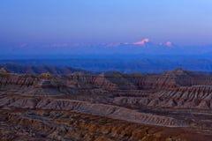 Jorda en kontakt Forest Geopark på soluppgång i det Zhada länet, Tibet Royaltyfri Bild