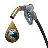 Jorda en kontakt insidan av en guld- droppe som gråter från Royaltyfria Bilder
