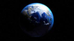 Jorda en kontakt jordklotet från utrymme med moln och att visa Indien och mitt Eas Royaltyfria Bilder