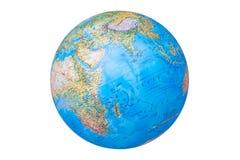 Jorda en kontakt jordklotet i spansk version som isoleras på vit bakgrund royaltyfri fotografi