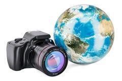 Jorda en kontakt jordklotet med den digitala singel-Lens reflexkameran, tolkningen 3D Royaltyfria Bilder