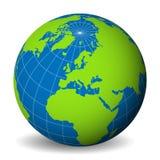 Jorda en kontakt jordklotet med den gröna världskartan och slösa hav och hav fokuserad od Europa Med tunna vita meridianer och pa stock illustrationer
