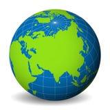 Jorda en kontakt jordklotet med den gröna världskartan och slösa hav och hav som fokuseras på Asien Med tunna vita meridianer och Royaltyfria Bilder