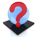 Jorda en kontakt jordklotet med frågefläcken, FAQ-begrepp Arkivbild