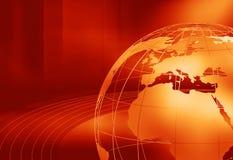 Jorda en kontakt jordklotet med grafisk röd temabakgrund för bältet Royaltyfri Bild