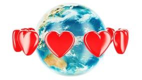 Jorda en kontakt jordklotet med röda hjärtor omkring, animeringbegreppet 3d vektor illustrationer