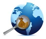 Jorda en kontakt jordklotet och förstora exponeringsglas som söker för guld Royaltyfria Bilder