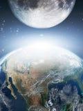jorda en kontakt moonen Arkivbild