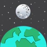 jorda en kontakt moonen stock illustrationer