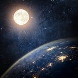jorda en kontakt moonen för nebulaavstånd för bakgrund färgrikt universum för stjärna Royaltyfria Bilder