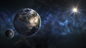 jorda en kontakt moonen Vetenskapstema Beståndsdelarna av denna bild möblerar arkivbild