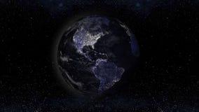 Jorda en kontakt planeten på natten med stads- ljusområden, Amerika siktsillu vektor illustrationer