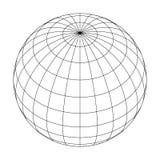 Jorda en kontakt planetjordklotrastret av meridianer och paralleller, eller friheten och längd vektor för illustration 3d vektor illustrationer