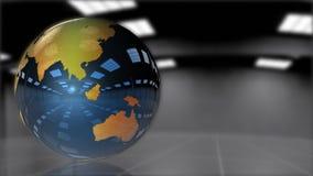 Jorda en kontakt skinande metalliskt rotera för jordklot som kretsar, materiellängd i fot räknat royaltyfri illustrationer