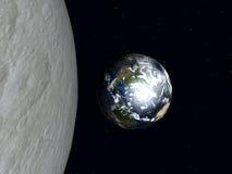 Jorda en kontakt till moonen 2 Arkivbild