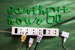 Jorda en kontakt timmemeddelandet, vänd av elektrisk utrustning royaltyfri fotografi