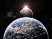jorda en kontakt universum för förmörkelseutforskningmoonen Arkivbilder