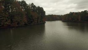Jordan湖寄生虫空中录影在罗利NC附近的 股票视频
