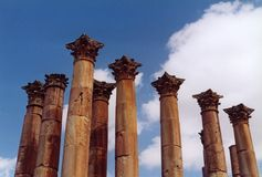 Jordan. Columns in jerash Royalty Free Stock Image