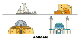 Jordan, Amman flat landmarks vector illustration. Jordan, Amman line city with famous travel sights, skyline, design. Jordan, Amman flat landmarks vector royalty free illustration