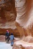Petra monastery-Bedouin and ass Royalty Free Stock Photos