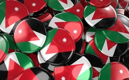 Jordan Badges Background - Stapel van Jordanian Vlagknopen Stock Afbeelding