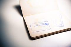 Jordan border stamp on old european passport Royalty Free Stock Photos