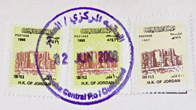 Jordan Cancelled Stamps Royalty Free Stock Photo