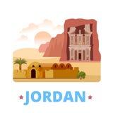 Jordan country design template Flat cartoon style. Jordan country fridge magnet design template. Flat cartoon style historic sight showplace web site vector Stock Photo