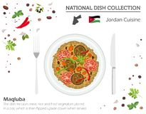 Jordan Cuisine Coleção nacional do prato de Médio Oriente Maqluba isolou-se em branco, infograpi ilustração do vetor