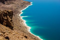 Jordan Dead Sea Salt Tourist Location. The Lowest Place On Earth, The Dead Sea Jordan Tourist Location stock image