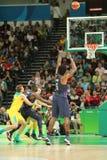Jordan DeAndre Nr. 6 des Teams Vereinigte Staaten in der Aktion während des Basketballspiels der Gruppe A zwischen Team USA und A lizenzfreies stockbild