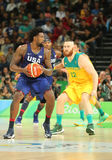 Jordan DeAndre of team United States in action during group A basketball match between Team USA and Australia. RIO DE JANEIRO, BRAZIL - AUGUST 10, 2016: Jordan Stock Photos