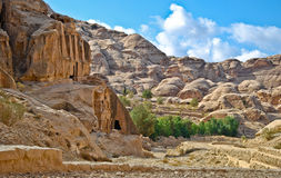Jordan desert. The Jordan desert with rocks and clouds Royalty Free Stock Photo