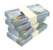 Jordan dinars bills isolated on white background. Royalty Free Stock Image
